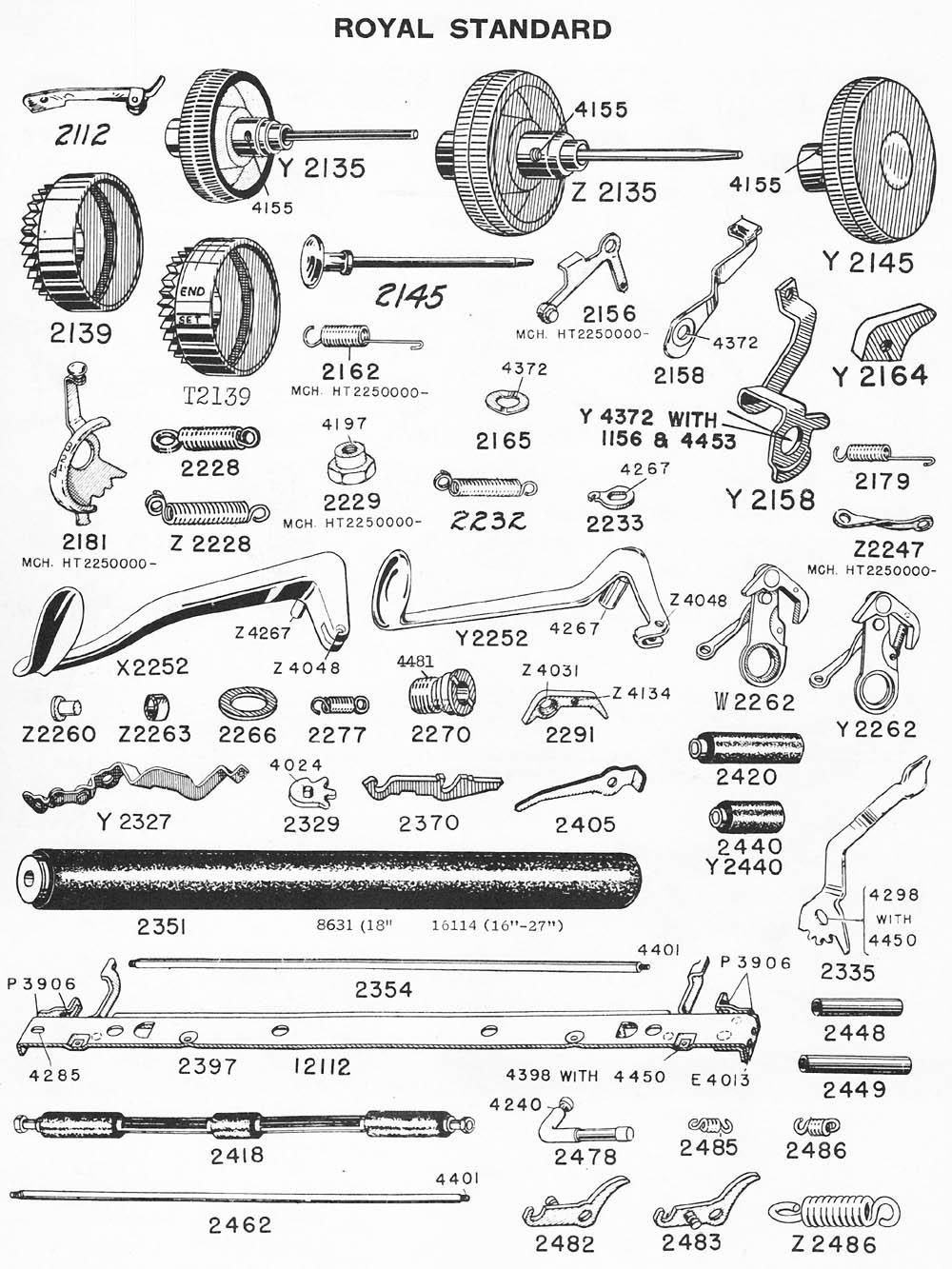typewriter parts  royal standard  u0026 electric