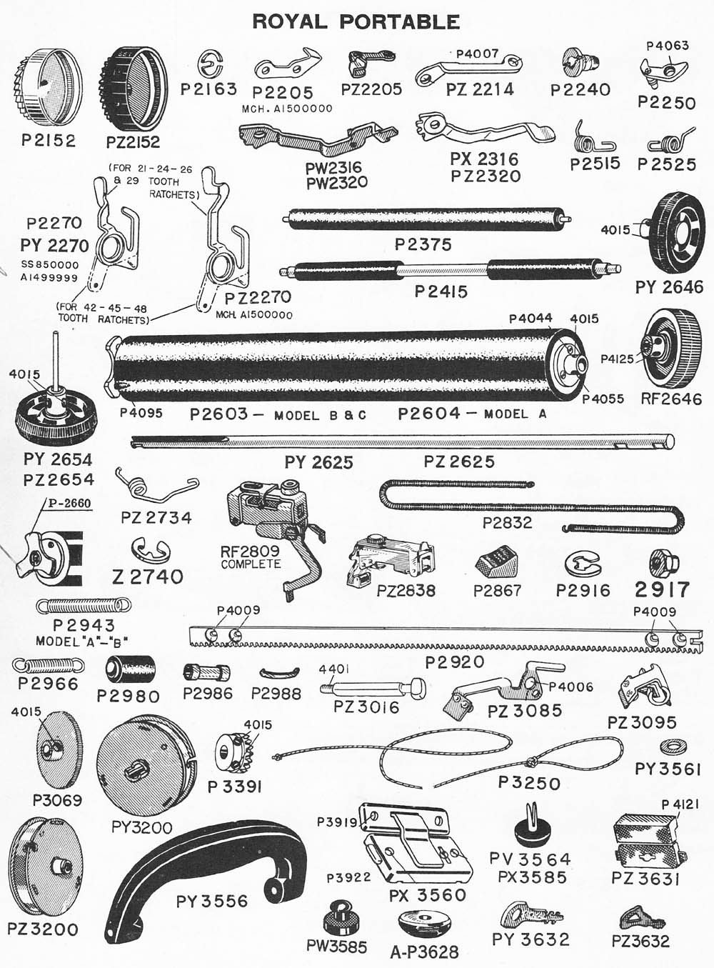 typewriter parts  royal portable