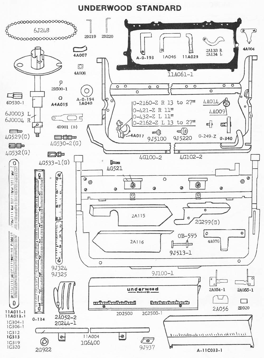 typewriter parts  underwood standard  u0026 electric