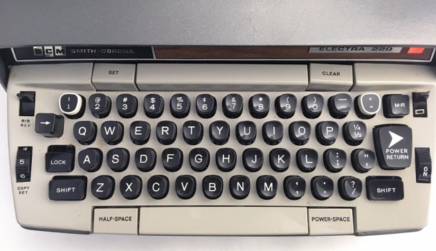 """Smith Corona """"Electra 220 Automatic"""" from the keyboard..."""