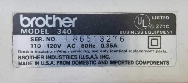 """Brother """"340"""" serial number detail..."""
