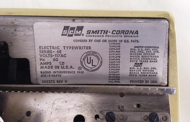 """Smith-Corona """"Coronet"""" tag/info..."""