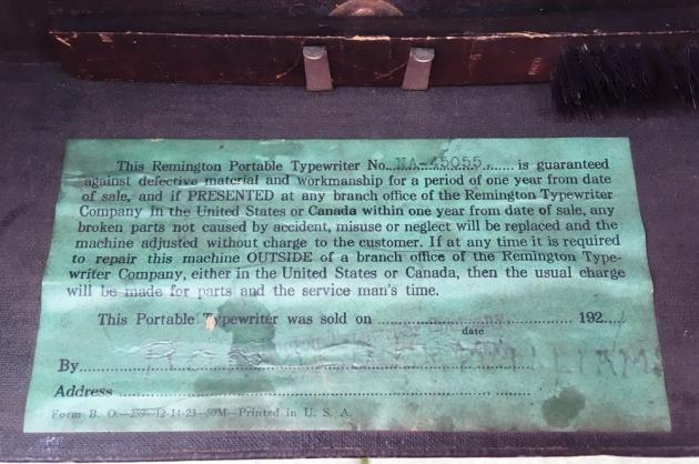 Remington Portable internal paper label...