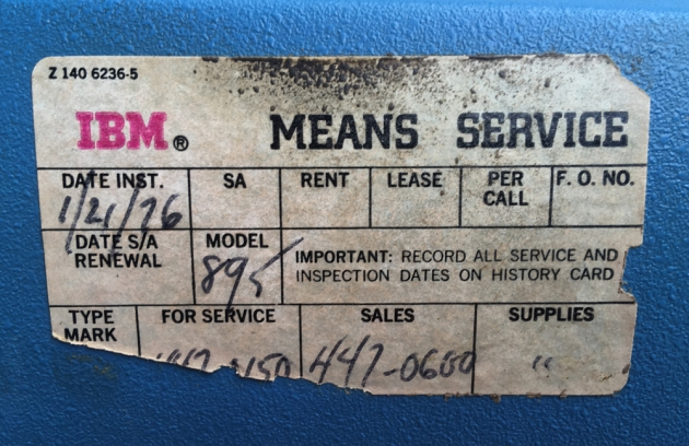 IBM Selectric ll dated service label...