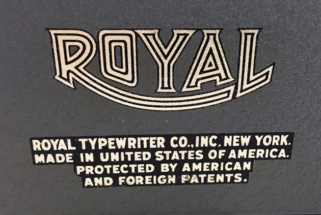 """Royal """"Quiet De Luxe"""" decal on the back."""