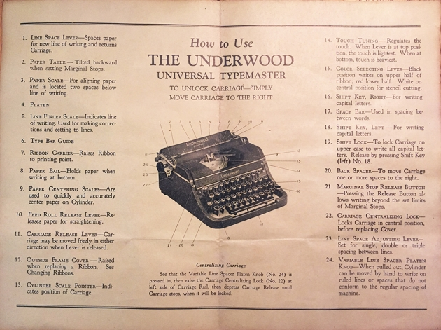 """Underwood """"Universal"""" paperwork that came with this typewriter..."""