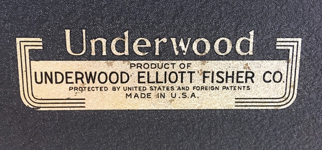 """Underwood """"Universal"""" decal on the back of the typewriter, (detail)..."""