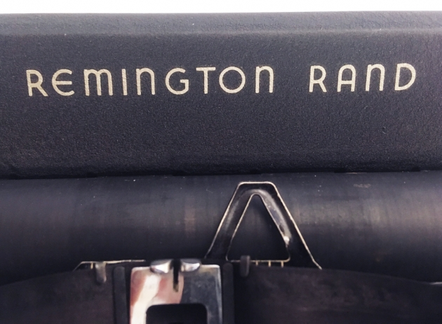 "Remington Rand ""De Luxe Model 5"" front logo, top..."
