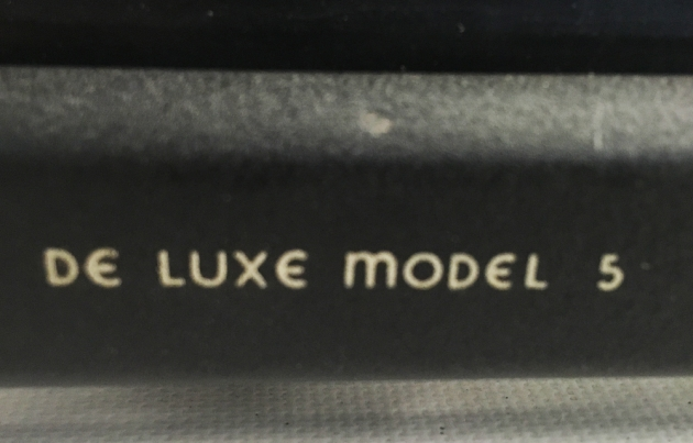 "Remington Rand ""De Luxe Model 5"" front logo, bottom..."