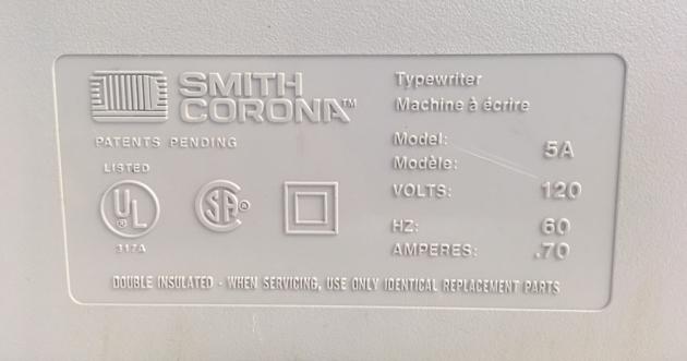"Smith-Corona ""XL 2000"" from the bottom (detail)..."