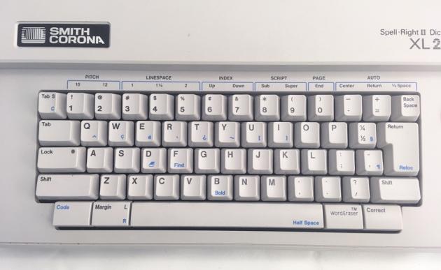 "Smith-Corona ""XL 2000"" from the keyboard..."