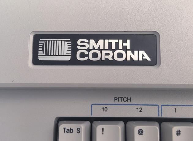 """Smith-Corona """"XL 2000"""" logo on the top (detail)..."""