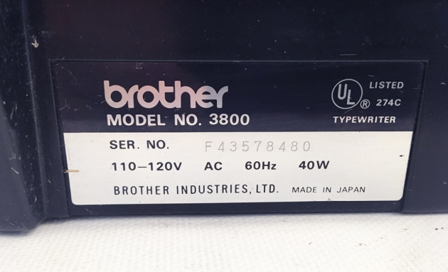 "Brother ""Correct-O-Riter"" serial number location..."