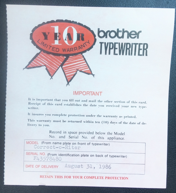 "Brother ""Correct-O-Riter"" warranty card with purchase date..."