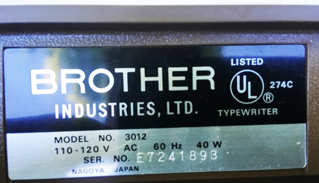 """Brother """"3012"""" serial number location..."""