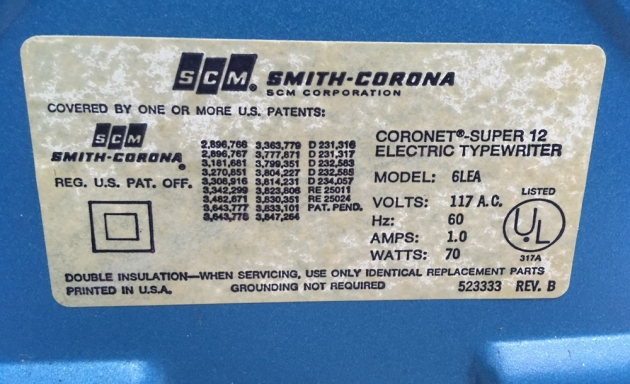"Smith-Corona ""Coronet Super 12 Coronamatic"" model and revision information tag..."