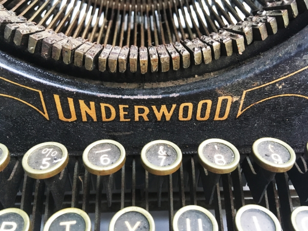 Underwood #3 logo over the keyboard...
