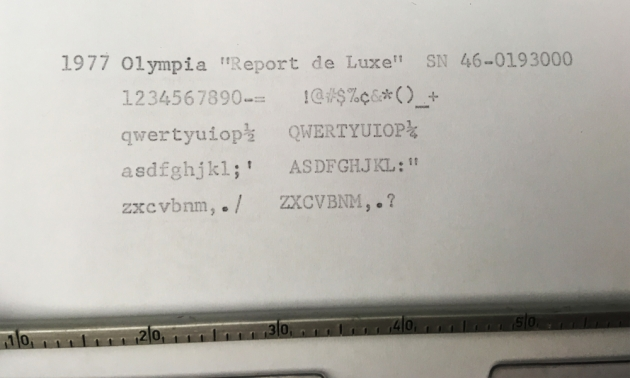 "Olympia ""Report de Luxe"" type sample detail..."
