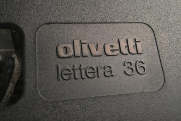 "Olivetti ""36"" logo on the ribbon cover..."