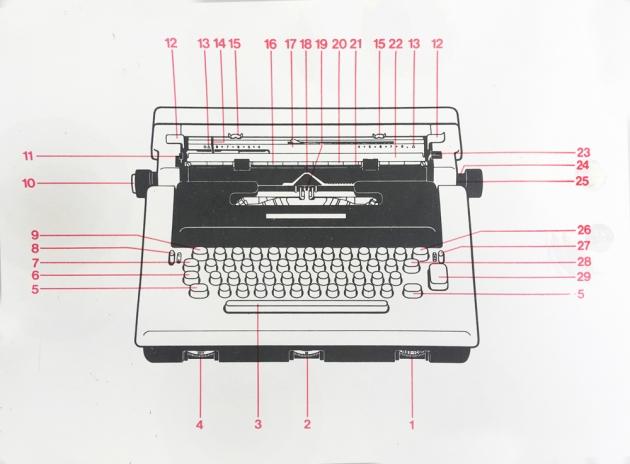 "Olivetti ""Lettera 36"" brochure page illustration..."