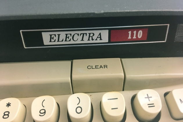 """Smith-Corona """"Electra 110"""" front model name logo..."""