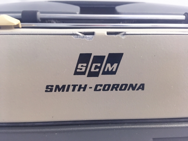 "Smith-Corona ""Electra 110"" from the back (logo detail)..."