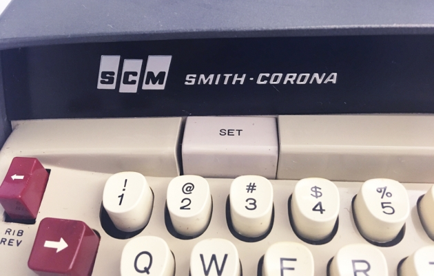 """Smith-Corona """"Electra 110"""" Logo detail from the front..."""