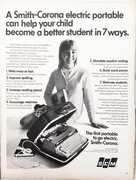 "Smith-Corona ""Electra 110"" advertisement from 1967 LIFE magazine April 28th (pg. 89) ..."
