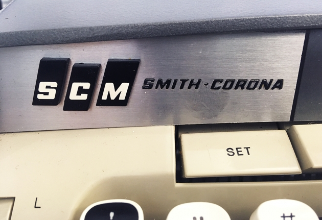 "Smith-Corona ""Galaxie Deluxe"" from the keyboard (detail, left)..."