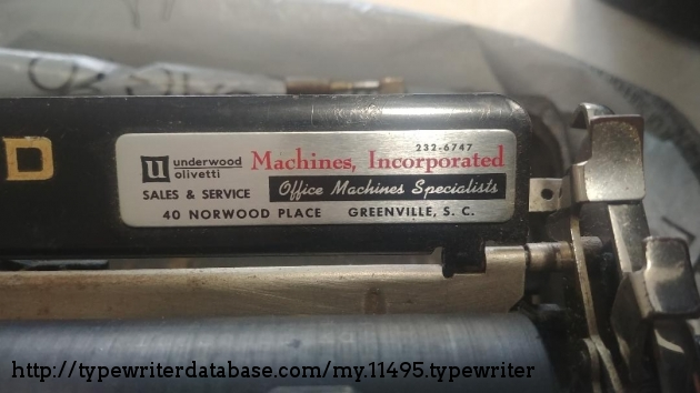 Typewriter servicing company in South Carolina which may have refurbished the machine at one time