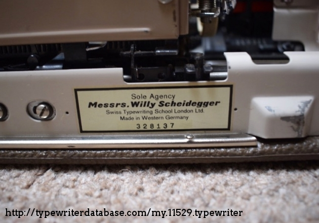 I suspect that this number is the Willy Scheidegger machine number as it doesn't correspond with the serial number stamped into the frame of the typewriter.  Willy required students to purchase (or hire) 'his' typewriters to complete the course, so it's quite likely that this is an inventory number.