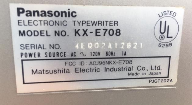 "Panasonic ""KX-E708"" serial number location..."