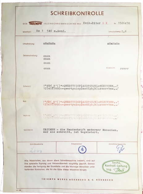 The test page, from the factory, that came with this typewriter.