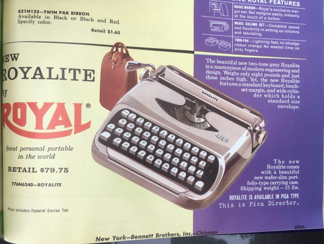 """Royal """"Royalite""""  catalog page from """"Bennett Brothers""""."""