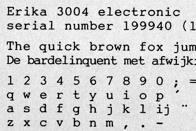 English pangram in 10-pitch,  Dutch pangram in 12-pitch