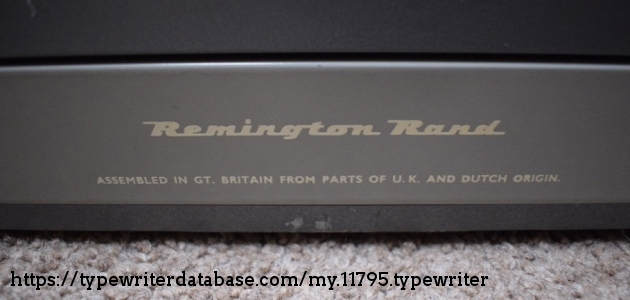 Remington Rand - Assembled in Great Britain from parts of UK and Dutch Origin