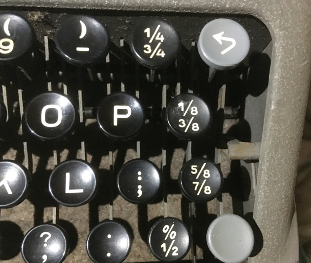 "Hermes ""Baby"" from the keyboard, Detail...(note the  number of keys with fractions)"