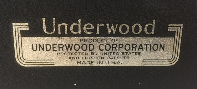 "Underwood ""Universal"" from the back...(detail)"