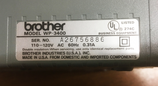 "Brother ""WP-3400"" serial number location..."