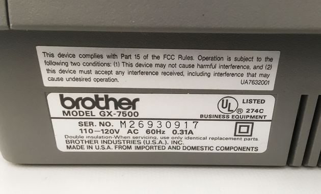 "Brother ""GX-7500"" serial number location..."