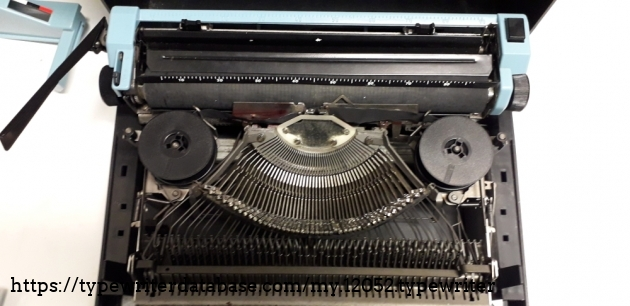The interior of the typewriter is essential and clean