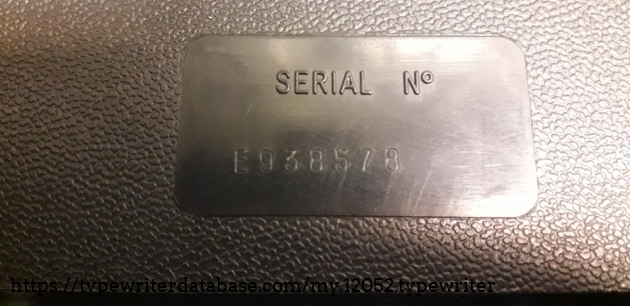 The serial number is marked under the typewriter