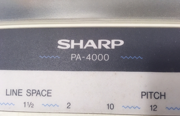 "Sharp ""PA-4000"" from the front logo."