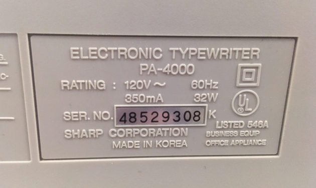 "Sharp ""PA-4000"" from the back, serial number location."