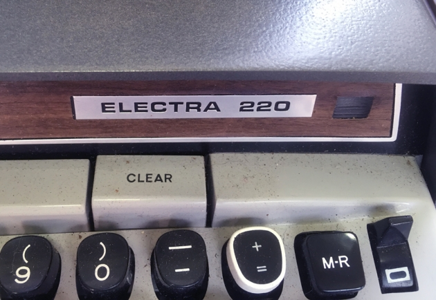 "Smith-Corona ""Electra 220"" front logo (right side)..."