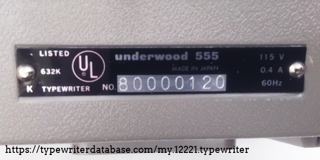 "Underwood ""Electric 555"" serial number location..."