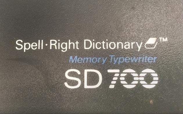 """Smith-Corona """"SD 700"""" model logo (right side)..."""
