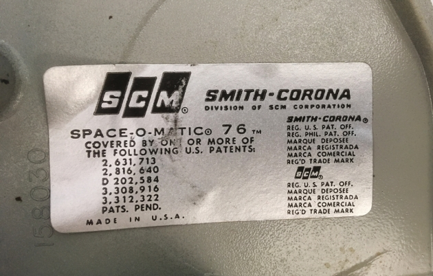 "Smith Corona ""Secretarial 76"" info tag..."