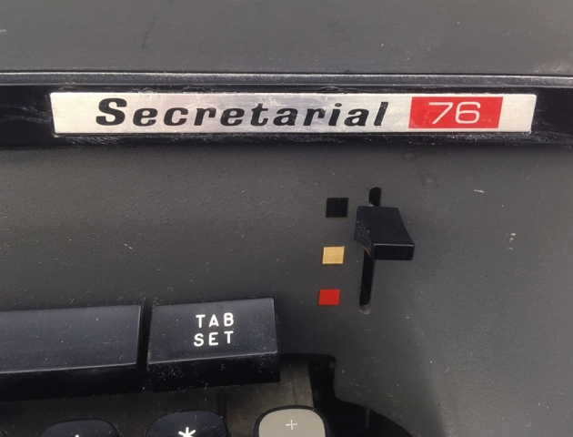 "Smith Corona ""Secretarial 76"" model logo on the front..."
