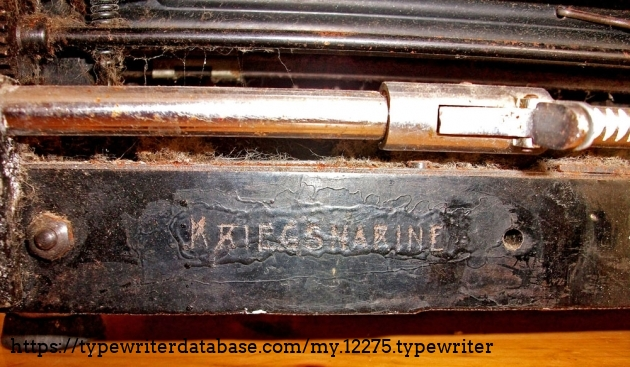 "On the backside of the machine the german navy stamped their property. ""Kriegsmarine"""